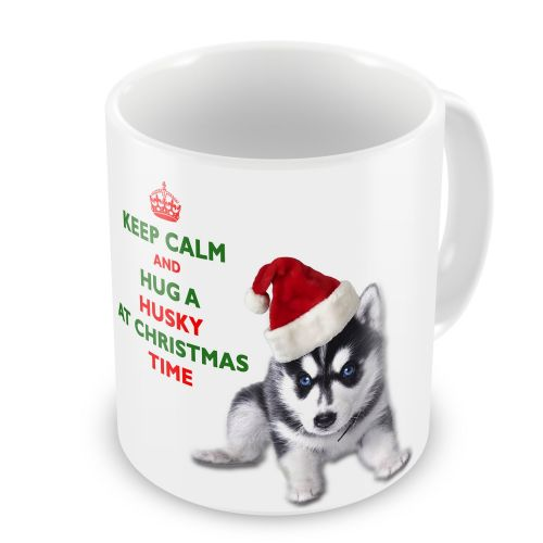 Christmas Keep Calm And Hug A Husky Novelty Gift Mug